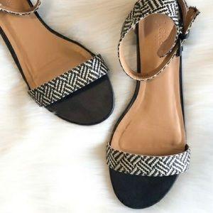 J. Crew Black and White Patterned Sandal